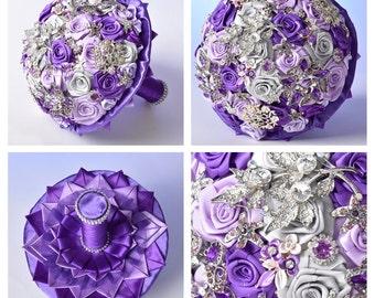 Purple wedding brooch bouquet, Jewelry wedding bouquet, Brooch bouquet, Bridal bouquet