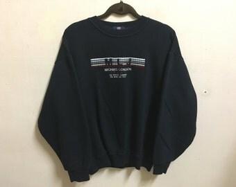 Vintage 90's Michiko London Sport Black Classic Design Skate Sweat Shirt Sweater Varsity Jacket Size L #A490