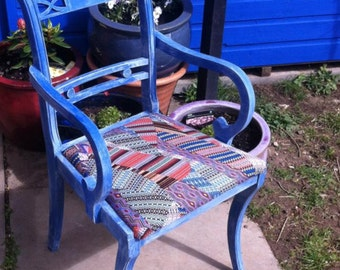 Upcycled antique chair with Missoni fabric seat