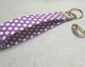 purple w/white polka dots key fob