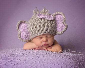 Crocheted Baby Elephant Hat, Newborn Photo Prop, Newborn Elephant