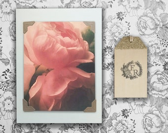 Pink Rose Blank Card, Romantic or Anniversary Card