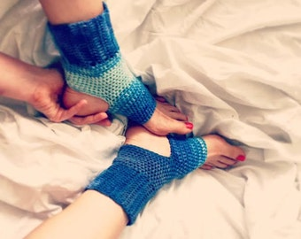 Hand-crocheted cotton sock for yoga or pilates