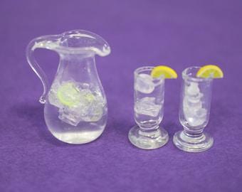 Miniature Glass Pitcher with Drink Glasses, Ice & Lemon Slices, Handmade, Dollhouse, Miniature Garden, Fairy Garden, Kawaii