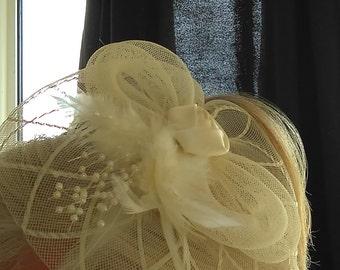 Fascinator Ivory Cream Hat Wedding Party