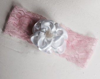 Pink and White Lace Vintage Headband
