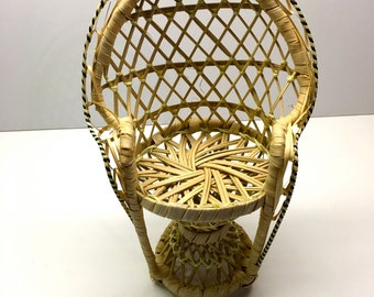 """Planter/Toy Seat, Large Vintage Wicker Peacock Chair, Rattan Toy Chair - 17"""" H"""