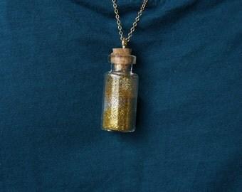 Collar small bottle flask ⋆ ⋆ sand glitter glitter gold & silver