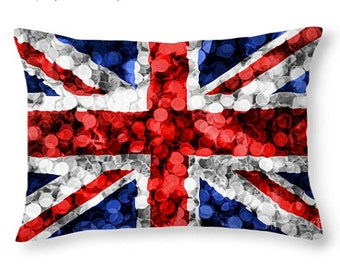 Throw pillow of the union jack british flag britain england bokeh texture pattern red white blue unionjack country uk home decor sofa chair