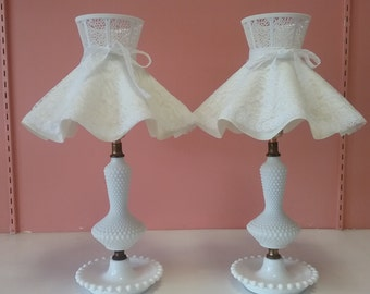 Set of 2 Vintage Milk Glass Lamps
