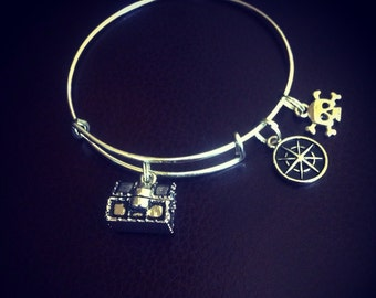 Pirates life adjustable bangle charm bracelet