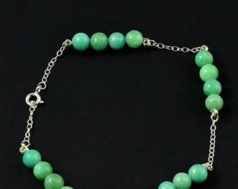 Natural Amazonite and sterling silver bracelet