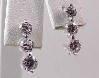 Sterling Silver CZ Journey Push Back Dangle Earrings