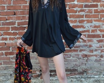 1970s Black Tunic with Sequins