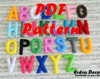 Pattern felt alphabet _preschool alphabet_felt letters_educational game_stuffed alphabet_learning alphabet_educational game_sewing tutorial