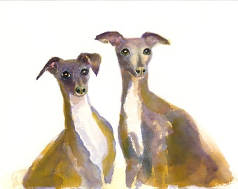 Italian Greyhound Dog Art Print of Original Watercolor Painting (Gracie & Tessie)