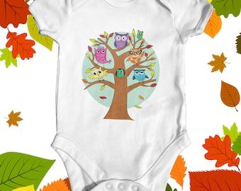 Owls baby bodysuit | baby shower gift | cute baby clothes | newborn baby clothes | funny baby bodysuit | nature baby bodysuit | baby animal