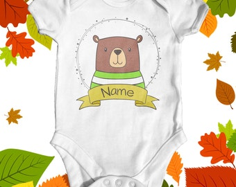 Personalised bear baby bodysuit | baby shower gift | cute baby clothes | custom baby bodysuit | animal baby bodysuit | newborn baby clothes