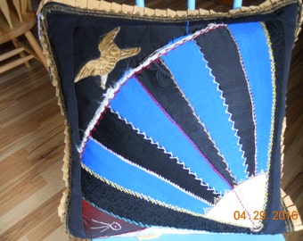 Vintage Crazy Quilt Square Pillow