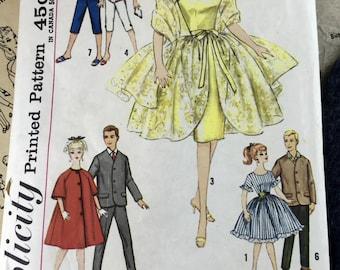 "Vintage 1960s Barbie Boyfriend Ken Doll Dress Suit Pattern / Simplicity 4422 11 1/2"" Doll Clothes Sewing Pattern 7 Outfits Babette Mitzi Kay"