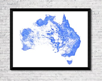Every river in Australia map art! | High-res digital Australia map print | Australia print | Australia poster | Wall art | Unique gift idea