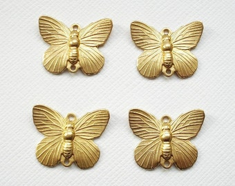 4 Raw Brass Butterfly Connector Charms 2 Ring