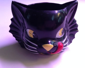 Vintage cat food give-away, cup, black cat, halloween cat cup, candy container