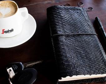 TRAVELER'S NOTEBOOK •  beautiful python leather • snakeskin •  MADE_TO_ORDER • fauxdori • mtn • foxydori • sketchbook • journal