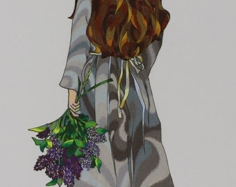 """Ink and Colored Pencil abstract print.  """"Girl with Lilacs"""""""