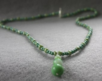 Spring Green Glass Beaded Necklace