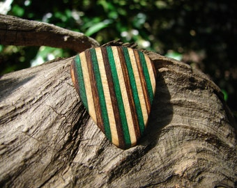 Wooden Guitar Pick, Hand-Crafted, SpectraPly Layered Birch Wood
