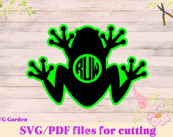 Frog SVG File, Frog Monogram SVG Cutting Template - Silhouette Vector Clip Art for vinyl cutting, Cricut, Silhouette, Kiss the frog princess