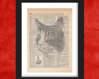 Cat Wall Art, Dictionary Art Print, Dictionary Art, Dictionary Print, Dictionary Pages, Dictionary Page Art, Dictionart, Cat Art, Cat Print