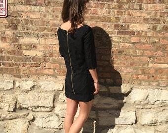 Black exposed zipper sheath dress