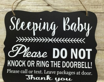 Sleeping Baby  Door Hanger/Sign/ Baby Gift/ Do not Disturb Sign/ No Soliciting Sign/ Do not Knock Sign