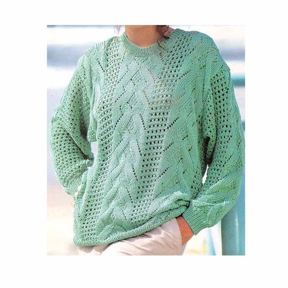 Knitting Pattern For Ladies Cable Sweater : Knitting patterns vintage pdf womens lace cable