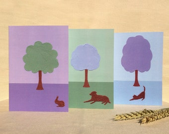 Animals At Rest: set of 3 original design acrylic paintings printed on blank greeting cards. Envelopes included.