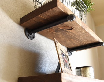 "10"" Deep Farmhouse Floating Shelf, Industrial Rustic Shelve, Wood and Pipe Shelf, Kitchen and Bathroom Wall Shelf"