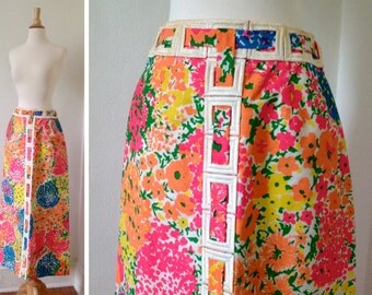 60s Vintage Mod Maxi Skirt in the Most Amazingly Bright Floral Pattern  | Size XS/S | Extra Small / Small