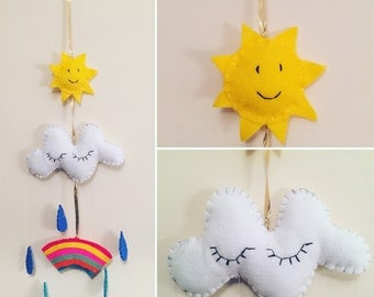 Nursery felt weather mobile