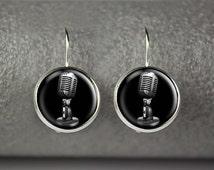Microphone earrings, Retro microphone earrings, Microphone jewelry