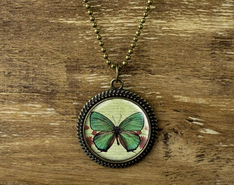 Butterfly pendant necklace, vintage style butterfly necklace, green butterfly necklace