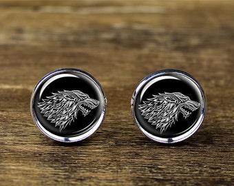 Game of Thrones Starks cufflinks, House of Stark cufflinks, Wolf cufflinks