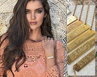Custom Gold Bar, Gold Bar Necklace, Engraved Necklace, Customized Name Bar Necklace, Personalized Gold Bar Necklace, Engraved Necklace
