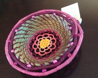 Spring Blossom Pine Needle Basket #16012