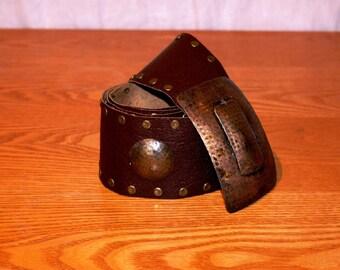 Brown Leather Belt, Metal Studs, Gypsy, Hippie, Rock, Ethnic, Burning Man Festival Belt Brown Leather Belt, Studded Belt, Ibiza
