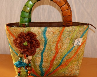 Mochila Bag, Hemp Jute Handbag, MONICA HENAO, Colorful Colombian Bag, Summer Bag, Borsa Doppio Manico, Colombiana, Cáñamo, Canapa, Juta