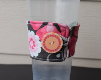 Pink Flower Over sized Reusable Cup Cozy, Cup sleeve, Reusable cup holder Flower power cup cozy