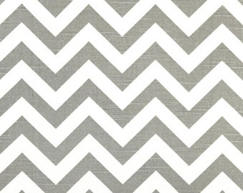 Grey and White Chevron Fabric by the Yard and Fat Quarter