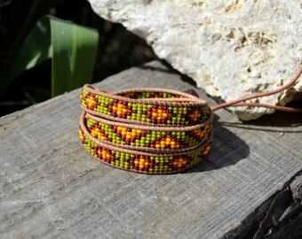 Triple Wrap Leather Bracelet, Seed beads bracelet, Boho bracelets,  Leather Bracelet